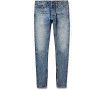 Skinny-fit Zip-detailed Distressed Selvedge Denim Jeans