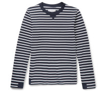 Canvas-trimmed Striped Cotton Sweater