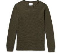 Slim-fit Waffle-knit Cotton T-shirt