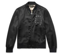 Embellished Satin Bomber Jacket
