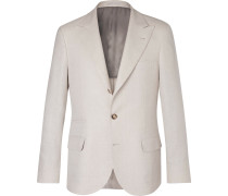 Cream Slim-fit Linen, Wool And Silk-blend Suit Jacket