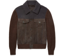Shearling-trimmed Suede And Wool Bomber Jacket
