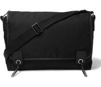 Leather-trimmed Twill Messenger Bag