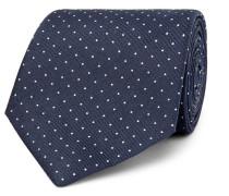 8cm Pin-dot Silk And Linen-blend Tie