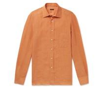 Spread-Collar Linen Shirt