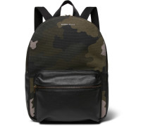 Leather-trimmed Camouflage-print Canvas Backpack