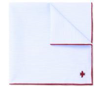 Embroidered Striped Cotton Pocket Square