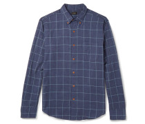 Windowpane-checked Brushed-cotton Twill Shirt