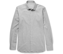 Slim-fit Penny-collar Brushed-cotton Twill Shirt