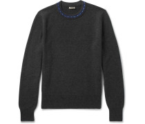 Contrast-trimmed Wool And Cashmere-blend Sweater