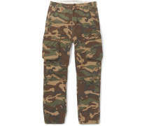 Camouflage-print Cotton Cargo Trousers