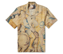 Carlton Camp-collar Printed Linen Shirt