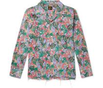 Camp-Collar Floral-Print Woven Shirt