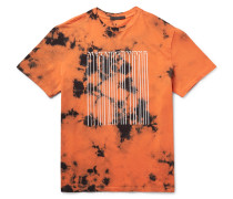 Barcode-printed Tie-dyed Cotton-jersey T-shirt
