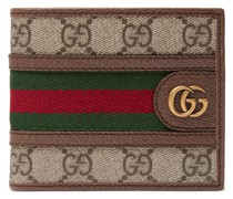 Ophidia Webbing-Trimmed Monogrammed Coated-Canvas and Leather Billfold Wallet