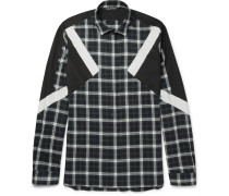 Slim-fit Panelled Checked Cotton-flannel Shirt