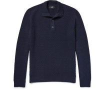 Funnel-neck Textured Wool Sweater