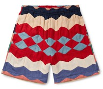 Striped Quilted Twill Drawstring Shorts