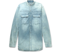 Slim-fit Grandad-collar Distressed Denim Shirt