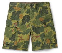Camouflage-Print Cotton-Canvas Cargo Shorts