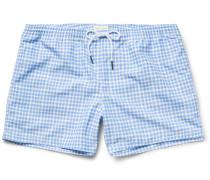 Arlen Slim-fit Short-length Gingham Swim Shorts