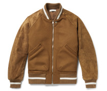 Wool-blend And Suede Bomber Jacket