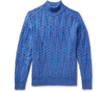 Cable-knit Space-dyed Wool-blend Sweater
