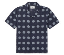 Camp-collar Printed Linen And Cotton-blend Shirt