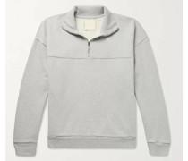 Fleece-Back Mélange Organic Cotton-Jersey Half-Zip Sweatshirt
