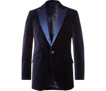Dark-Green Slim-Fit Faille-Trimmed Cotton-Velvet Tuxedo Jacket
