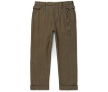 Wide-Leg Striped Brushed-Cotton Trousers