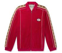 Oversized Logo-Appliquéd Webbing-Trimmed Piped Velvet Track Jacket
