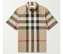 Button-Down Collar Checked Cotton-Poplin Shirt