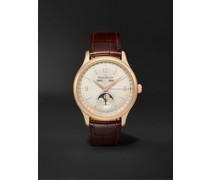 Master Control Calendar Automatic 40mm 18-Karat Rose Gold and Alligator Watch, Ref No. Q4142520