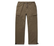 Wide-Leg Cotton-Twill Cargo Trousers