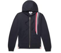 Striped Grosgrain-Trimmed Merino Wool Zip-Up Hoodie