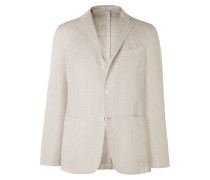 Claret Herringbone Cotton and Linen-Blend Blazer