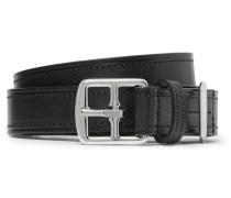 2.5cm Black Leather Belt