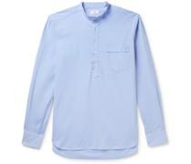 Grandad-Collar Washed Cotton Oxford Half-Placket Shirt