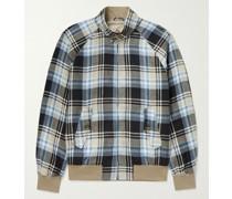 G9 Checked Linen and Lyocell-Blend Harrington Jacket