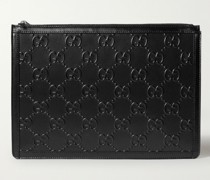 Logo-Embossed Perforated Leather Pouch