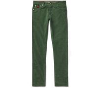 Navy Slim-Fit Cotton-Blend Corduroy Trousers