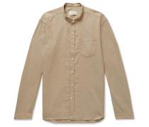 Grandad-Collar Cotton-Twill Shirt