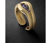 Trillion 18-Karat Gold Iolite Ring