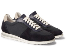Nubuck And Leather-trimmed Canvas Sneakers