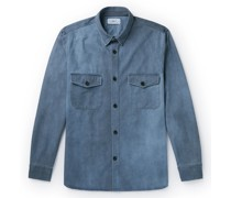 Spray-Dyed Cotton and Lyocell-Blend Twill Overshirt