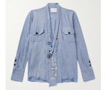 Distressed Patchwork Cotton-Chambray Shirt Jacket