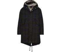Checked Waxed-cotton Hooded Parka With Detachable Liner