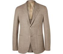 Brown Butterfly Slim-fit Unstructured Wool, Silk And Linen-blend Blazer