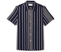 Camp-Collar Striped Twill Shirt